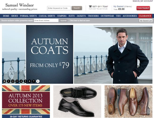 Интернет-магазин Samuel-windsor.co.uk