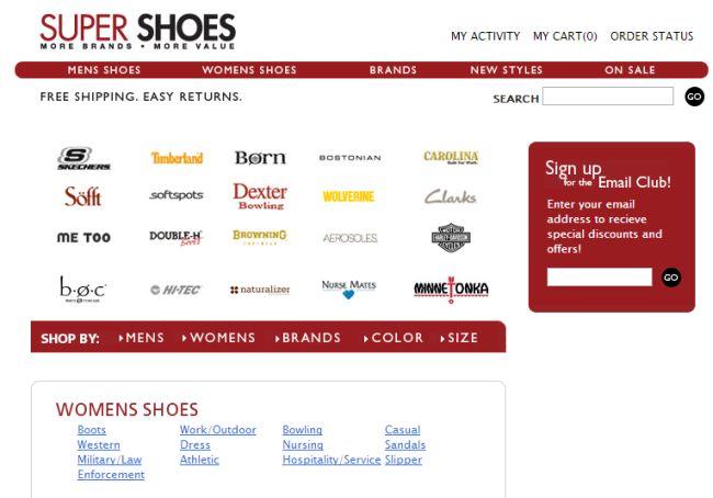 Интернет-магазин SuperShoes.com