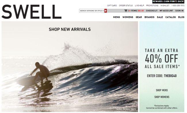 Интернет-магазин Swell.com