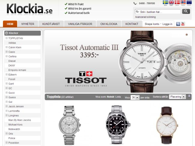 Интернет-магазин Klockia.se