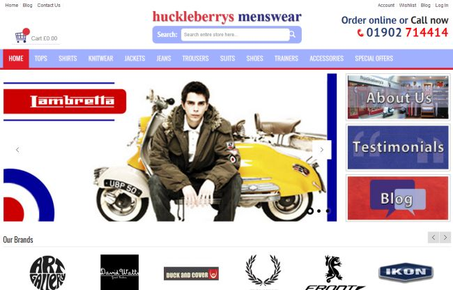 Интернет-магазин Huckleberrysmenswear.co.uk
