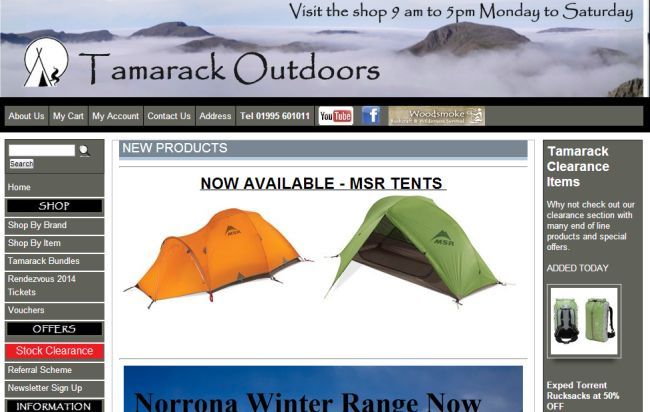 Интернет-магазин Tamarackoutdoors.co.uk